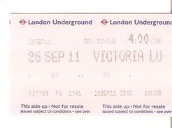TICKET LONDON UNDERGROUND METRO DE LONDRES - Tickets - Entradas