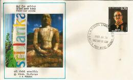 SRI LANKA: Site Archéologique De Polonnaruwa  (Antique Bouddha) Sur Lettre FDC - Archaeology