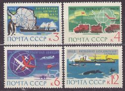 USSR Russia 1963 Antarctic Research Map Bird Penguin Whale Ship Truck Plane Transport Stamps MNH Michel 2801-2804 - Pinguine
