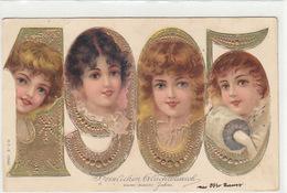 1905 - Herzlichen Glückwunsch - Gold-Prägekarte     (170620) - Neujahr