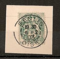 SENLIS Oise Sur 5C BLANC. 1903 - Marcophilie (Timbres Détachés)