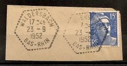 Hexagonal Tireté WALDERSBACH Bas Rhin Sur 15F Gandon. - 1921-1960: Periodo Moderno