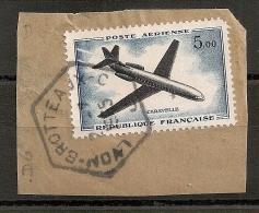 Hexagonal LYON BROTTEAUX -C C Sur 5f Caravelle Poste Aérienne. - 1921-1960: Periodo Moderno