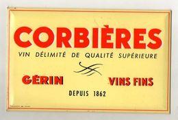 PLAQUE PUBLICITAIRE METAL CORBIERES  Gérin Vins Fins - Alimentaire
