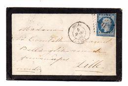 FRANCE LETTRE 1858  CACHETS  DOUAI  LILLE - 1853-1860 Napoléon III.