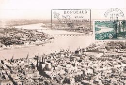 FRANCE Carte Maximun  N° 1118.A.Ed MF Gd Ft Hor Noir.1.Obl Flam Ill Bordeaux Ses Grands Vins 19 09 1957 Bordeaux - Maximum Cards