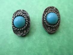 Bijou Fantaisie Ancien/  Paire De Boucles D'oreille / Turquoise Et Métal Argenté/ Vers 1930 - 1950         BIJ25 - Earrings