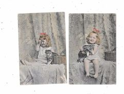 10146 - Lot De 4 CPA Petite Fille Avec Chat - Enfants