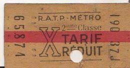 TICKET METRO RATP TARIF REDUIT - Subway