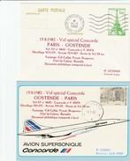 Concorde - Vol Spécial Paris-Oostende -  Aller Et Retour  - 1982 - Air France - Belgique - Avec Certificat - Concorde