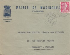 FRANCE - LETTRE  MARIANNE DE MULLER 15F SEUL SUR LETTRE -  CACHET ROND MARINGUES  PUY DE DÔME  3.9.1955 - / 3 - 1955- Marianne (Muller)
