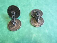 Bijou Fantaisie Ancien/Boutons De Manchette /Fabriqués Avec 4  Piéces Argent/Wilhelmina Koningin/NL/ 1939-41    BIJ27 - Jewels & Clocks
