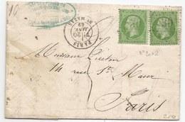 - Lettre - SEINE - PARIS - Etoile N°30 S/TP Type Napoléon N°20x2 + Càd T.18 - 1869 - 1862 Napoleon III