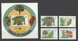 Tanzanie Tanzania 1995 Yvert 1725/1728 ** + Bloc 252 ** Fruits Fruit Frutta - Voir Description - Tanzania (1964-...)