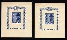 CROATIA HRVATSKA BLOCK SHEET MILITARY UNIFORM B31 X2 PIECES WWII WAR - Croatia