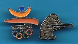 2 PIN'S //  ** JO BARCELONE ** 1992 & COBI ** TIR CARABINE ** ARGENTÉ ** - Jeux Olympiques
