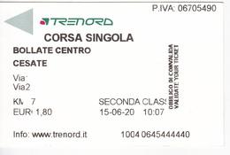 Italy , Bollate Centro - Cesate , Railway  Ticket , Used - Railway