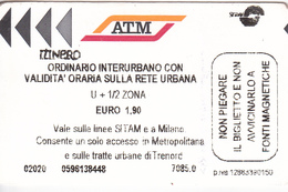 Italy , Milano   , Metro  Ticket  , 2015 - Europa