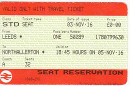 United Kingdom , Leeds  To Northallerton , Transport. Ticket - Railway