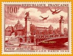 France**LUXE 1949 Pa 28 Vf 100 F. Grand Palais Et Pont Alexandre III à Paris, Congrès International De Télégraphie Et Té - 1927-1959 Ungebraucht