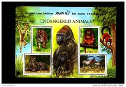 IRELAND/EIRE - 1998  ENDANGERED ANIMALS  MS  OVERPRINTED STAMPA 98  MINT NH - Blocchi & Foglietti