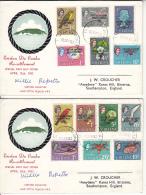 Tristan Da Cunha FDC 1963 Set Of 2 Signed By Chief Resettlement Scott #55-#67 Set Of 13 Overprints - Tristan Da Cunha