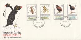 Tristan Da Cunha FDC 1987 Scott #404-#407 Set Of 4 Native Flightless Species - Tristan Da Cunha