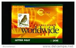 IRELAND/EIRE - 2002  € 5.70 BOOKLET SONG THRUSH SELF-ADHESIVE  FINE USED FDI CANCEL - Libretti