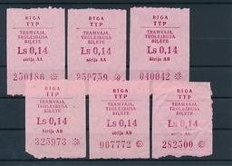 Latvia Riga Tram & Trolley One Way Tickets Lot - 6 Pcs. Ls 0,14 - Tram