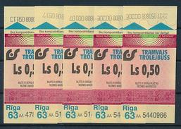 Latvia Riga Tram & Trolley One Way Tickets Lot - 5 Pcs. Ls 0,50 - Tram
