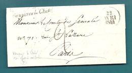 Seine Et Oise - Bruyeres Le Chatel Pour Le Comte De Semalé Paris. Cursive + Taxe Tampon 2. 1844. Cursive NON Referencée - Marcophilie (Lettres)