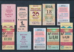 Latvia Riga Collection One Way Tickets Tram Trolley & Bus - 10 Different Values - Tram
