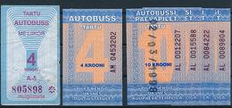 Estonia Tartu Lot Bus One-day Tickets - 1998 - Europe
