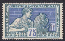 FRANCE Francia Frankreich - 1925 - Yvert 214 Nuovo Senza Gomma, 75 Cent, Grigio E Oltremare - France