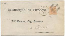 1878 EFFIGIE C. 20 PIEGO 22.3.79 BRESCIA NUMERALE SBARRE PER CAINO OTTIMA SPLENDIDA QUALITÀ  (Z31) - 1861-78 Vittorio Emanuele II