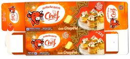 """Packaging FROMAGE LABEL CHEESE """" La Vache Qui Rit """" Chef """" Gruyère KÄSE Special Ramadan Queso Formaggio Kaas Emballage - Cheese"""