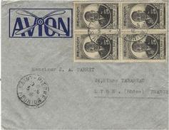 1946- Env. Par Avion ( Illustrée D'une Hélice ) De Saint-Pierre  Affr. Bloc De 4   Du 2 F. Félix  Eboué - Isola Di Rèunion (1852-1975)