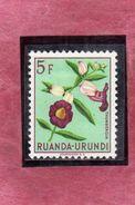 RUANDA URUNDI 1953 FLORA FLOWERS Thunbergia. FLOWER FIORI FIORE FLEURS 5f MLH - Ruanda