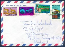 G51-  Postal Used Cover. Posted From Nigeria To England. UK. Animals. Leopard. Gas. Palm Oil. - Nigeria (1961-...)
