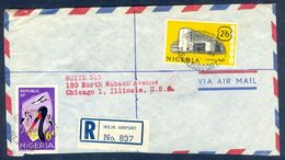 G59-  Postal Used Cover. Posted From Nigeria To USA. Fauna Tiere Storch. Central Bank Building. - Nigeria (1961-...)