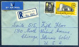 G62- Postal Used Cover. Posted From Nigeria To USA. Central Bank Building. Benin Mask. - Nigeria (1961-...)