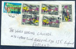 G83- Postal Used Cover. Posted From Nigeria To England. UK. Animals. Cement Factory. Transport. Truck. - Nigeria (1961-...)