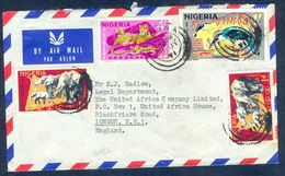 G85- Postal Used Cover. Posted From Nigeria To England. UK. Animals. Leopard. Elephant. Birds. - Nigeria (1961-...)