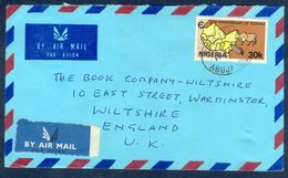 G88-  Postal Used Cover. Posted From Nigeria To England. UK. 5th Anniversary Of Ecowas. Animals. Map. - Nigeria (1961-...)
