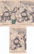 CPA ILLUSTRATEUR C. LESTIN SÉRIE TROIS CARTES. SERVANTE GOURMANDE ET PATRON AMOUREUX - Autres Illustrateurs