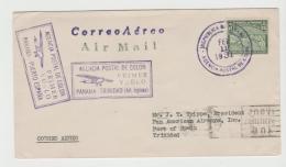 PAN075 / Erstflug (First Flight) Nach Panama Mit Landkarte-Mark Zu 15 C. Ex Trinidad - Panama