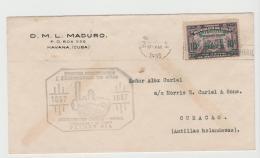 Cu041 / Kuba, 100-jähriges Eisenbahnjubiläum 1937 Auf FDC Nach Curacao - Covers & Documents