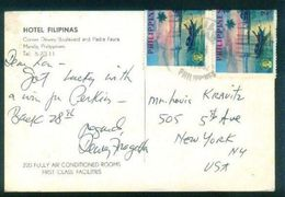 G120-  Postal Used Post Card. Posted From Philippines To USA. United State Of America. - Philippines