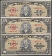 1958-BK-208 CUBA 1958 BANCO NACIONAL 20$ ANTONIO MACEO UNC 3 CONSECUTIVOS. - Cuba
