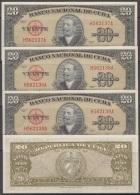 1958-BK-212 CUBA 1958 BANCO NACIONAL 20$ ANTONIO MACEO UNC 3 CONSECUTIVOS. - Cuba